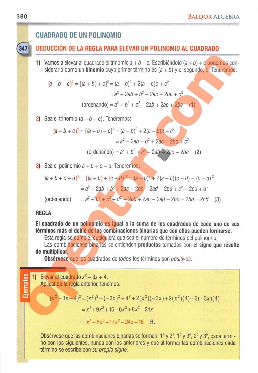 Álgebra de Baldor - Página 380