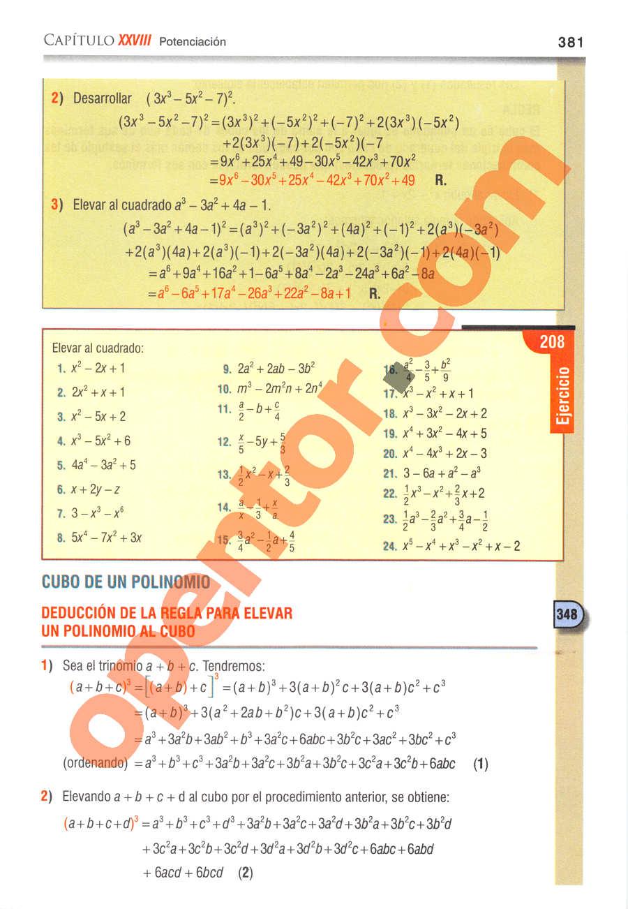 Álgebra de Baldor - Página 381