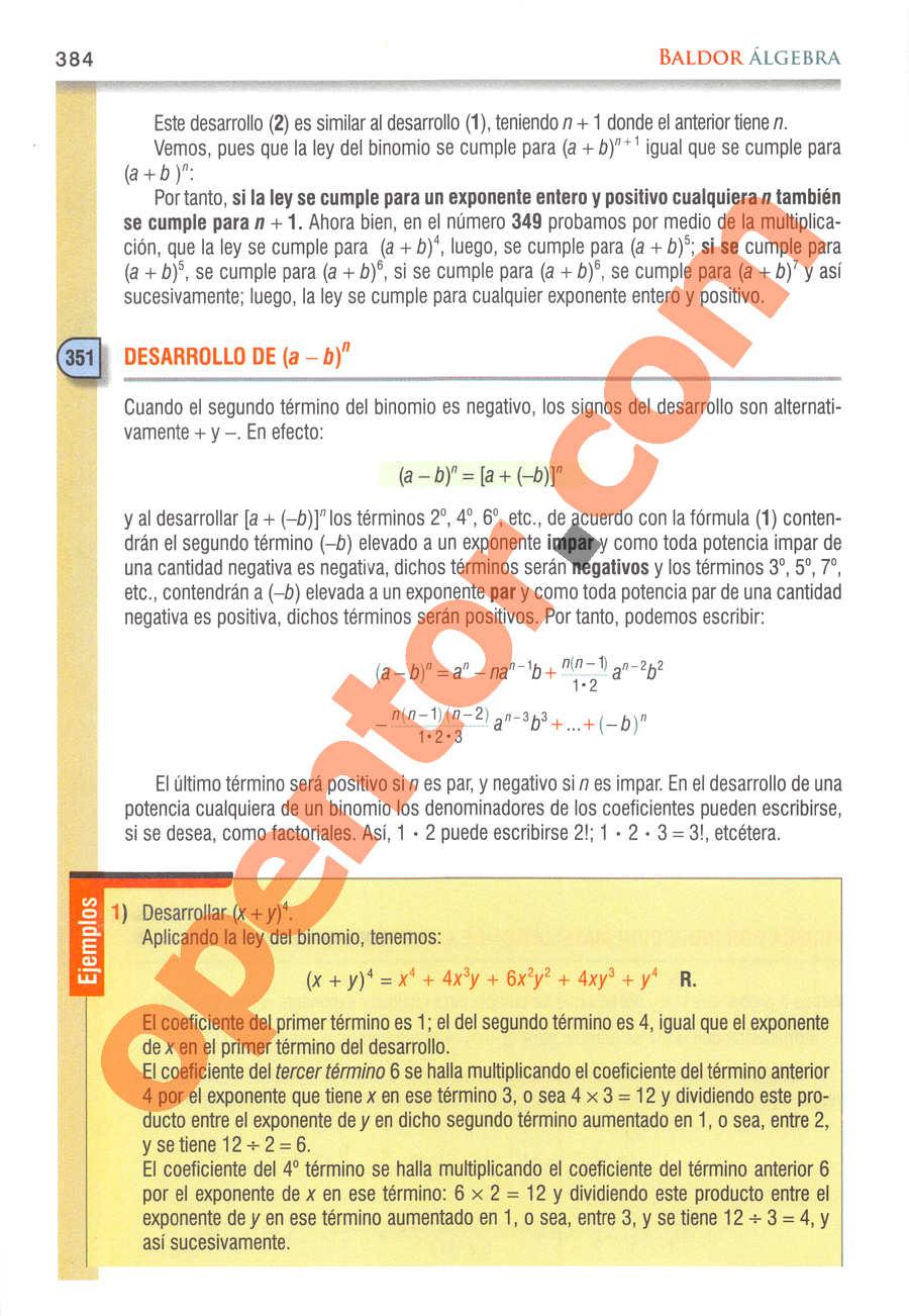 Álgebra de Baldor - Página 384