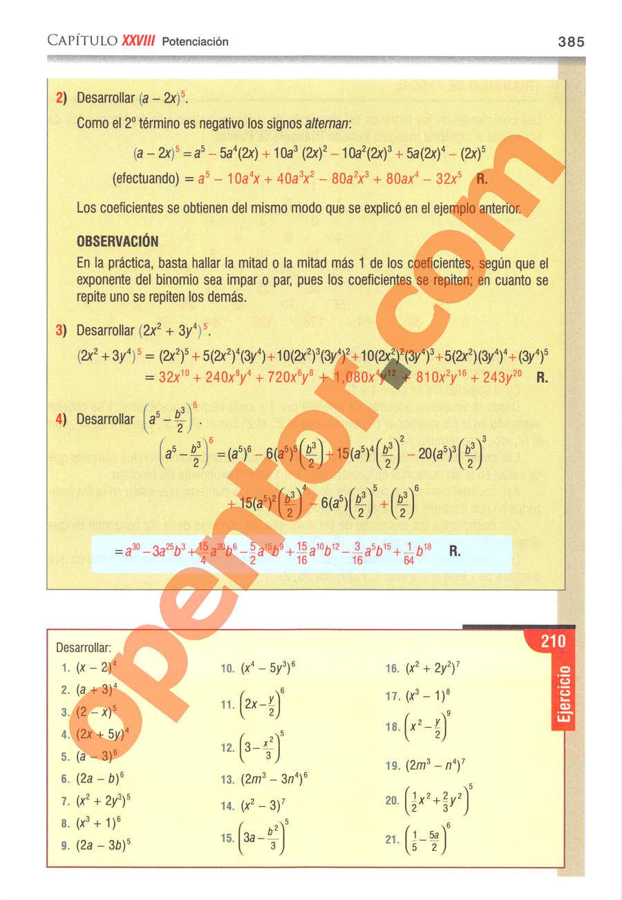Álgebra de Baldor - Página 385
