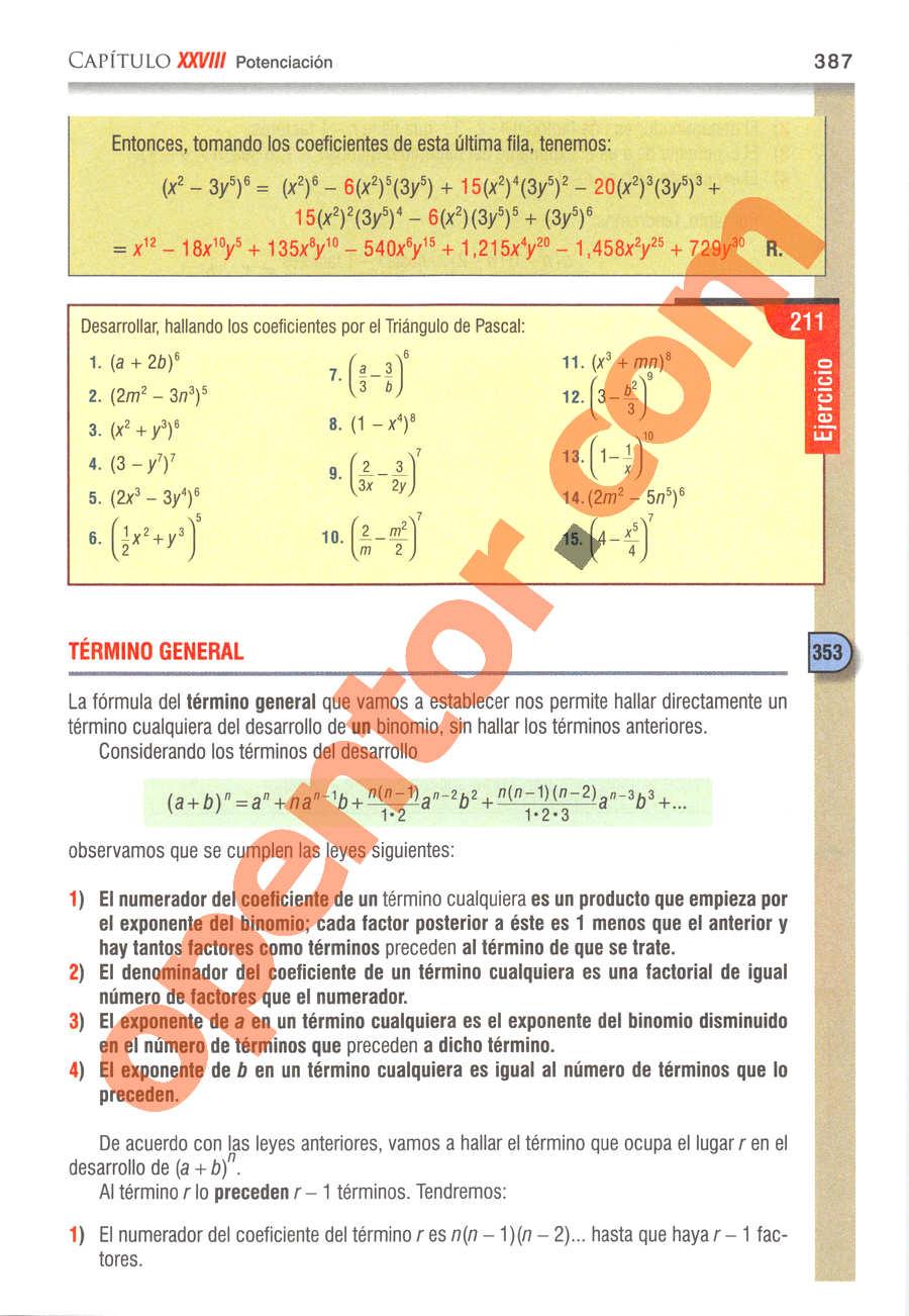 Álgebra de Baldor - Página 387