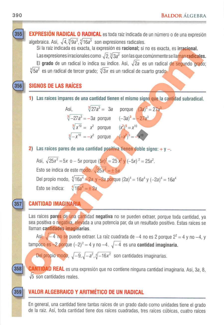 Álgebra de Baldor - Página 390