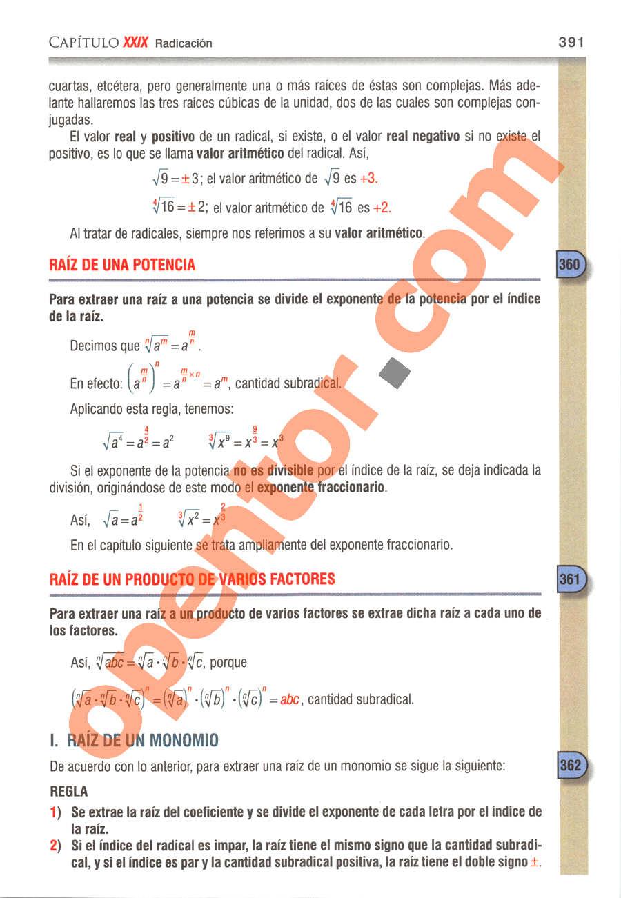 Álgebra de Baldor - Página 391
