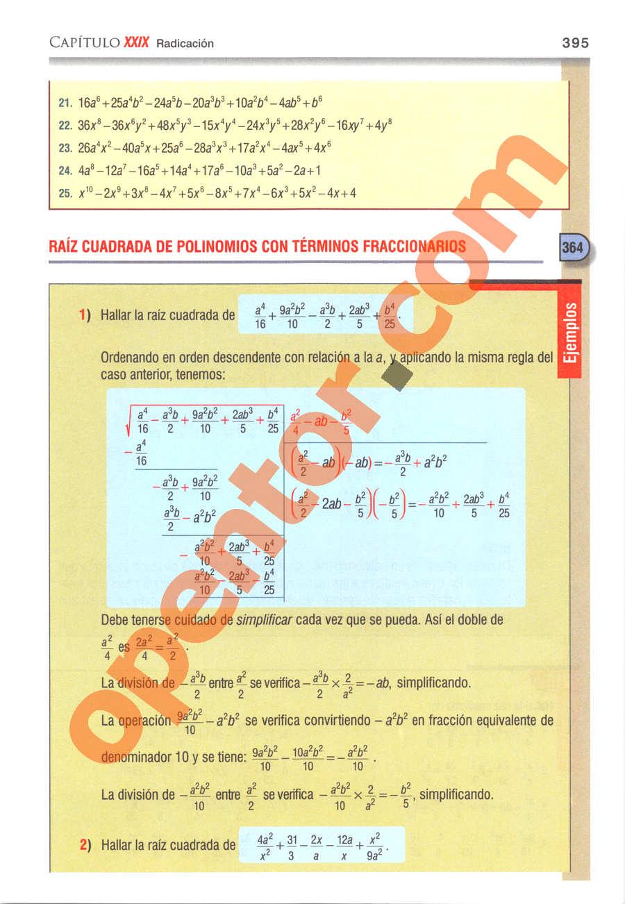 Álgebra de Baldor - Página 395