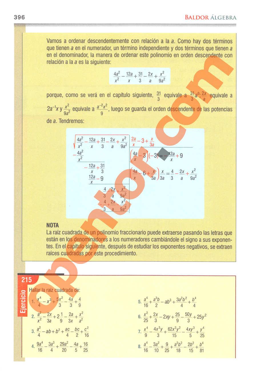 Álgebra de Baldor - Página 396