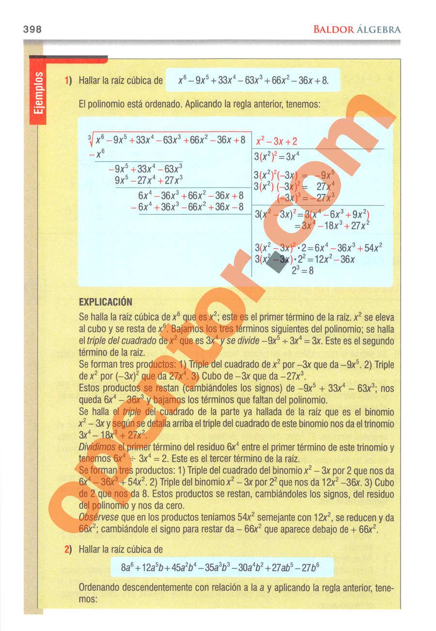 Álgebra de Baldor - Página 398