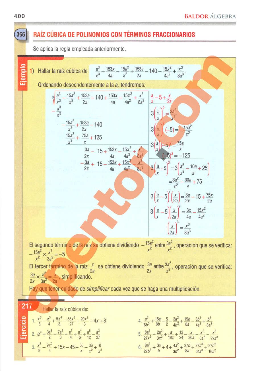 Álgebra de Baldor - Página 400