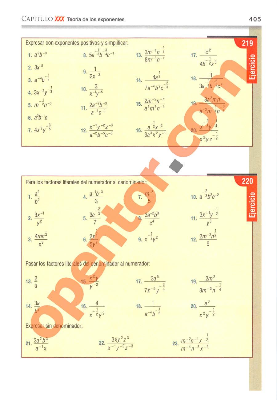 Álgebra de Baldor - Página 405