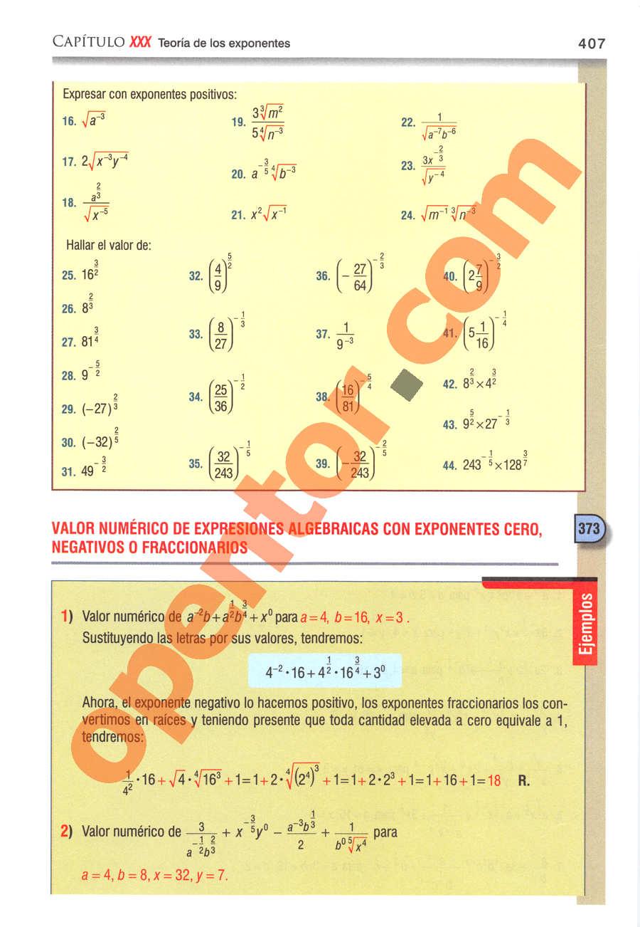 Álgebra de Baldor - Página 407