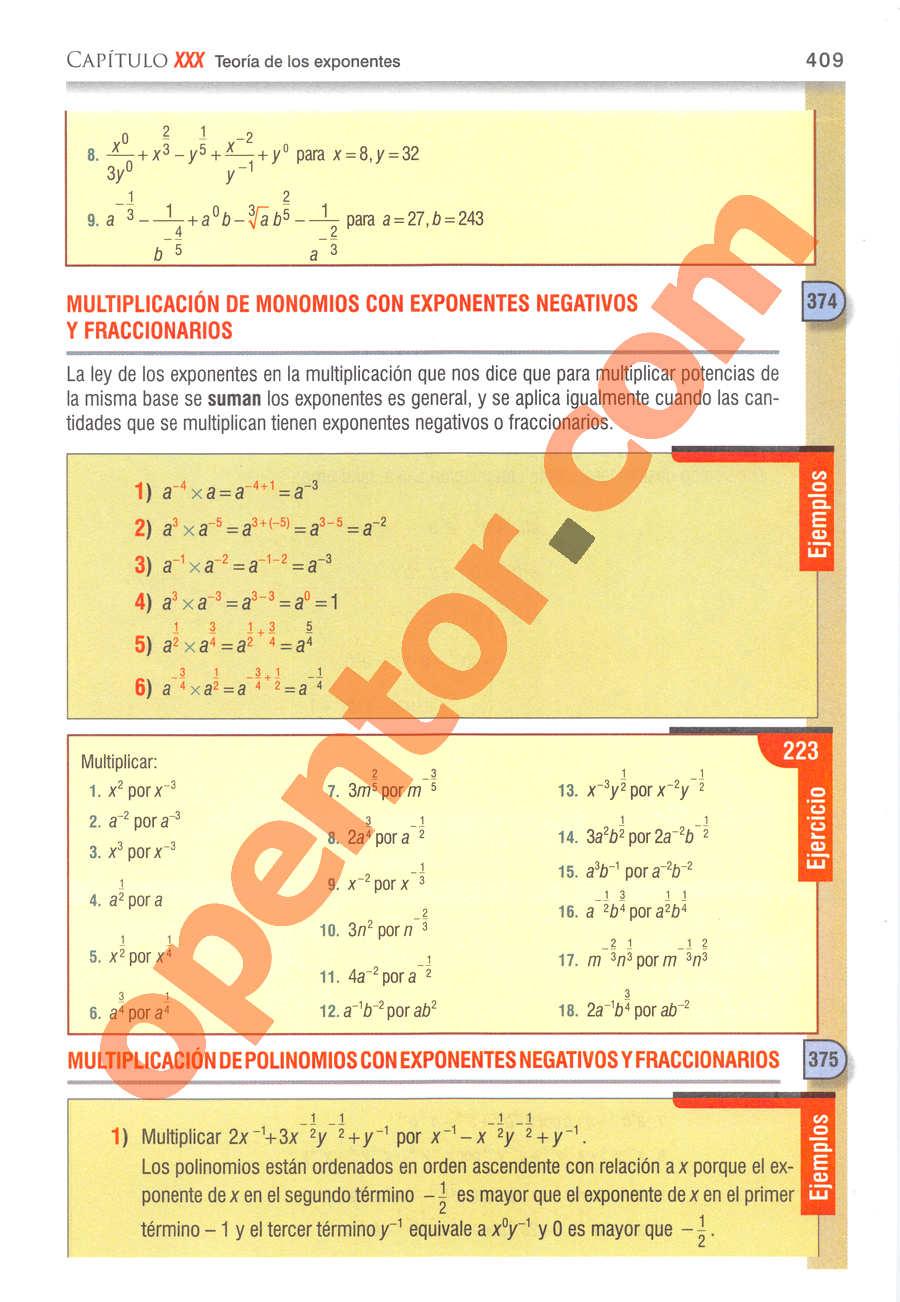 Álgebra de Baldor - Página 409