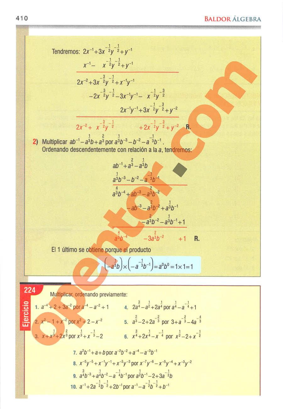 Álgebra de Baldor - Página 410