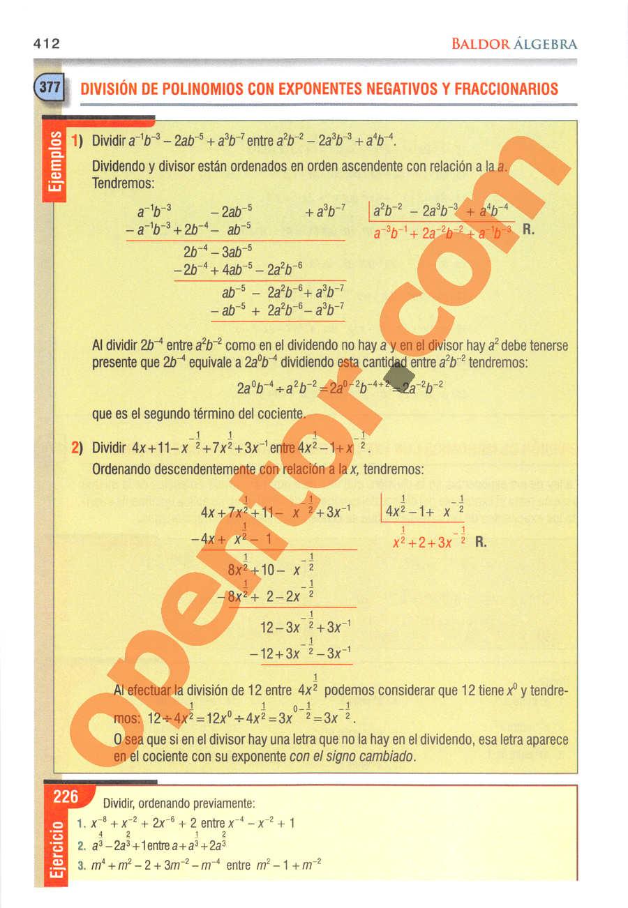 Álgebra de Baldor - Página 412
