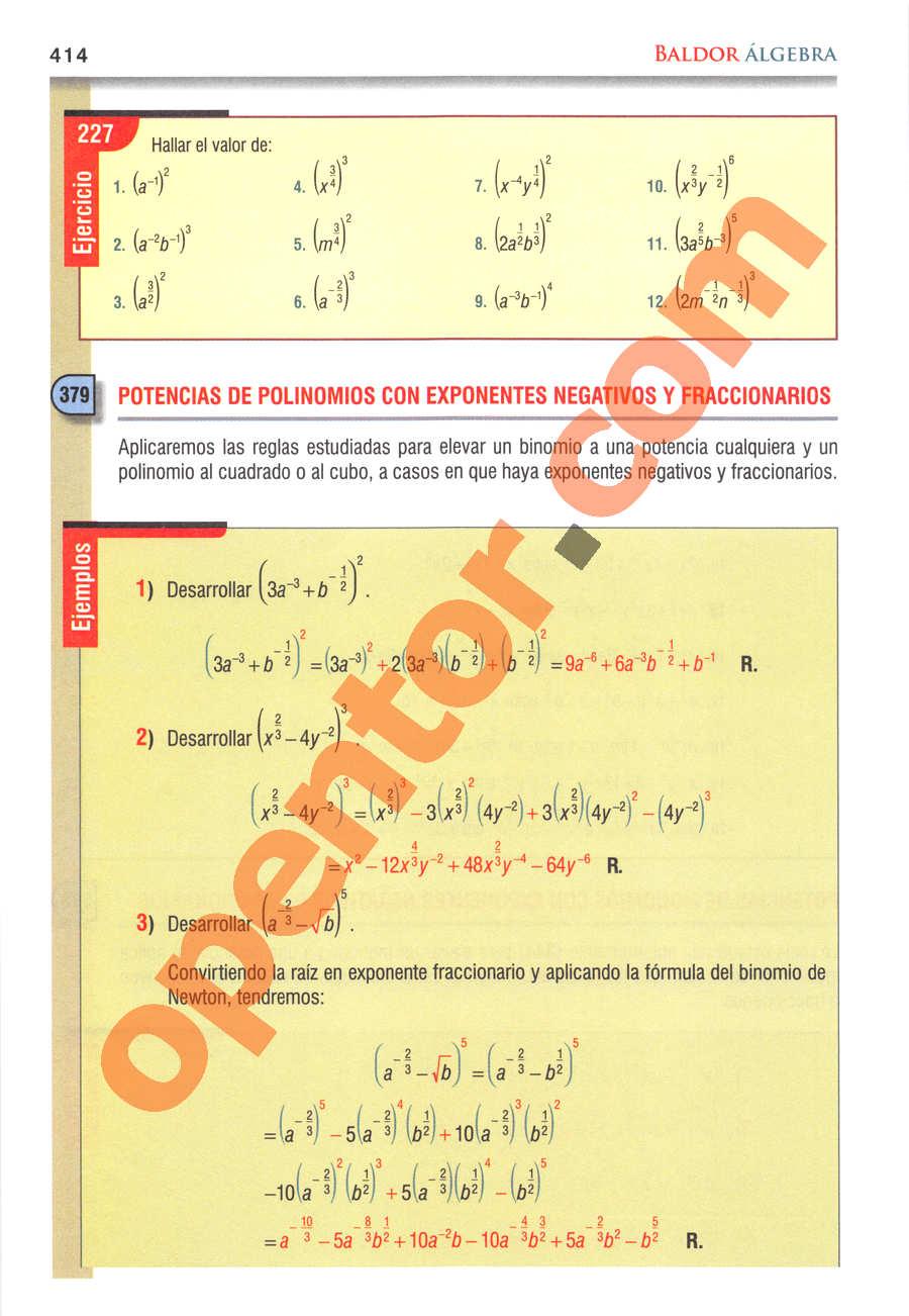 Álgebra de Baldor - Página 414