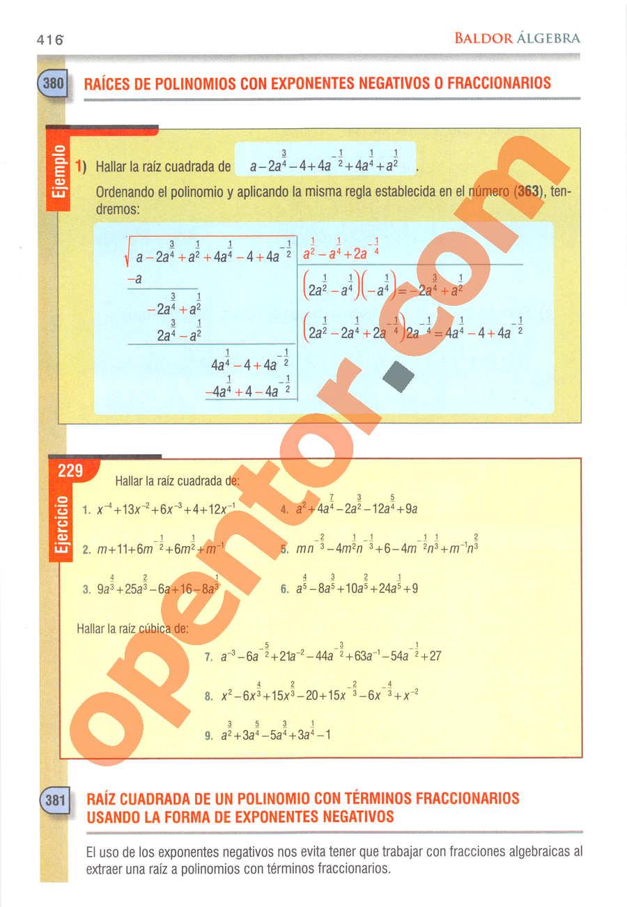 Álgebra de Baldor - Página 416