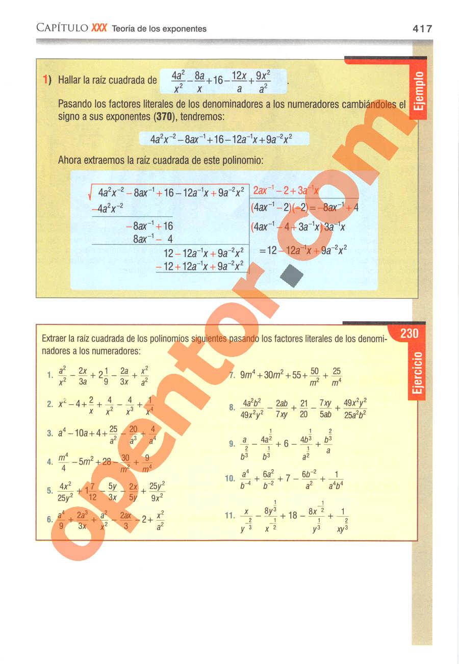 Álgebra de Baldor - Página 417
