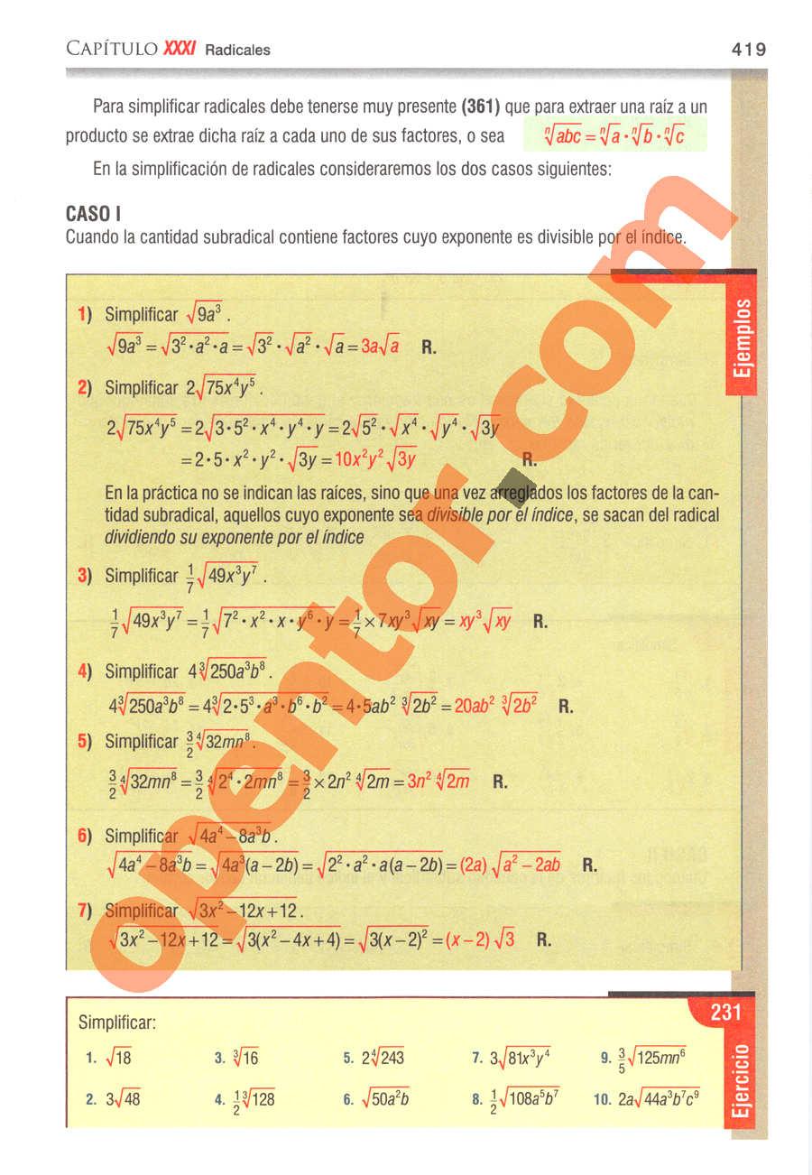 Álgebra de Baldor - Página 419