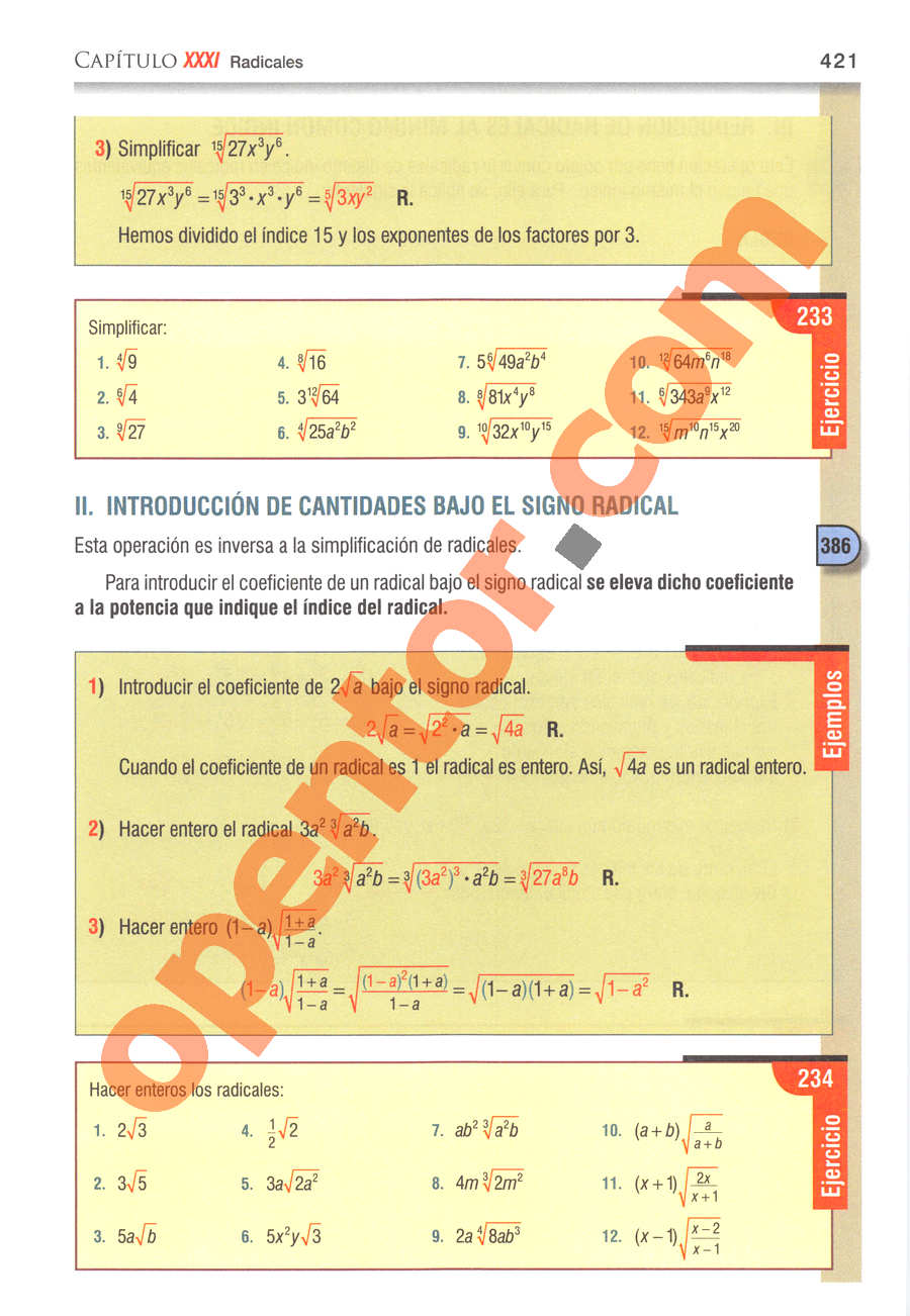 Álgebra de Baldor - Página 421