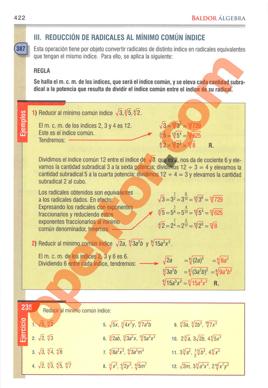 Álgebra de Baldor - Página 422