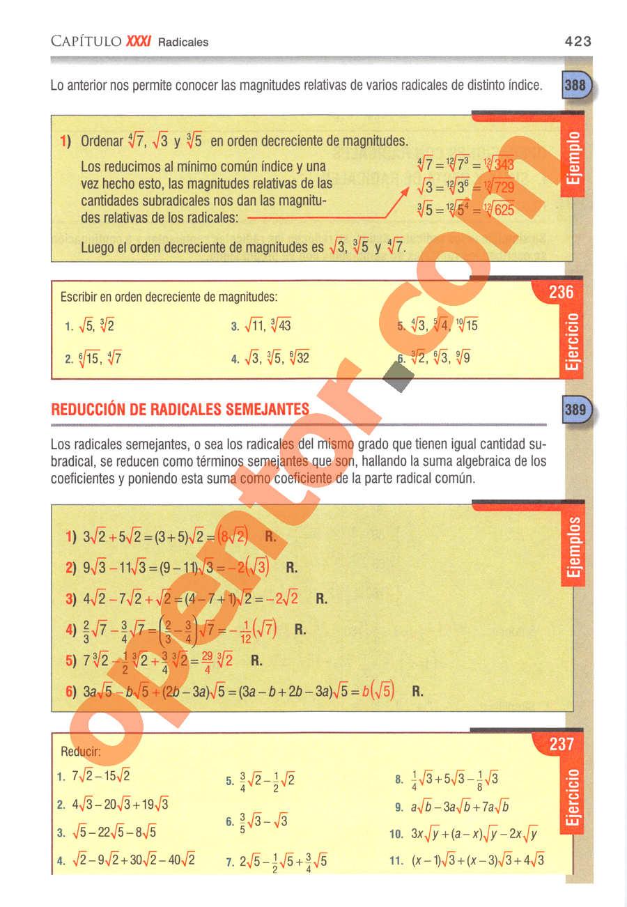 Álgebra de Baldor - Página 423