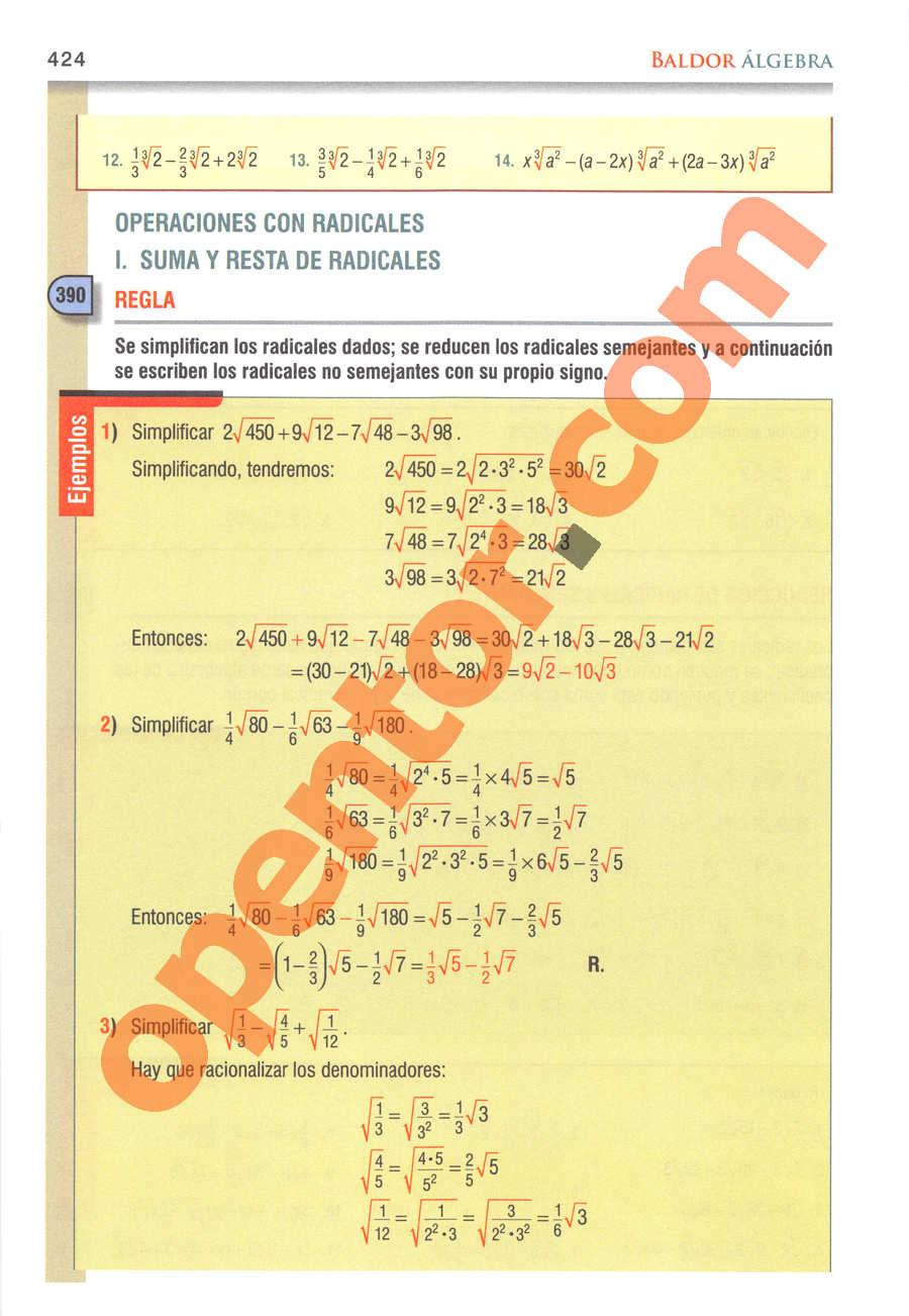 Álgebra de Baldor - Página 424