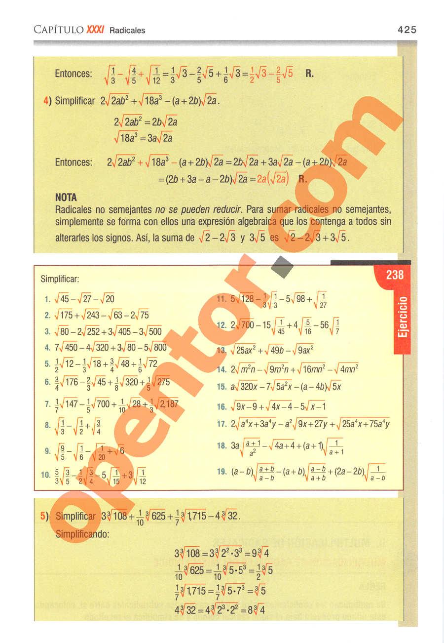 Álgebra de Baldor - Página 425