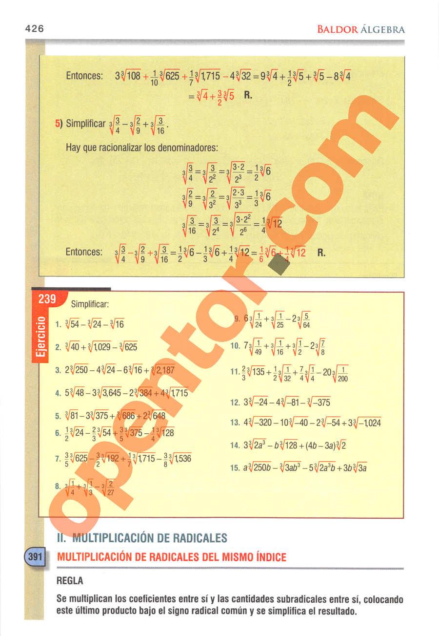 Álgebra de Baldor - Página 426