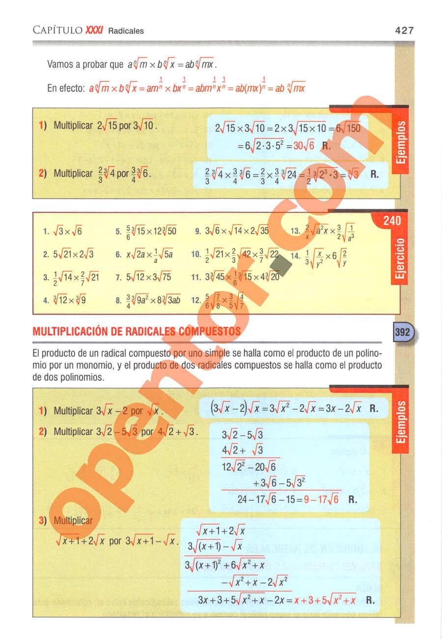 Álgebra de Baldor - Página 427