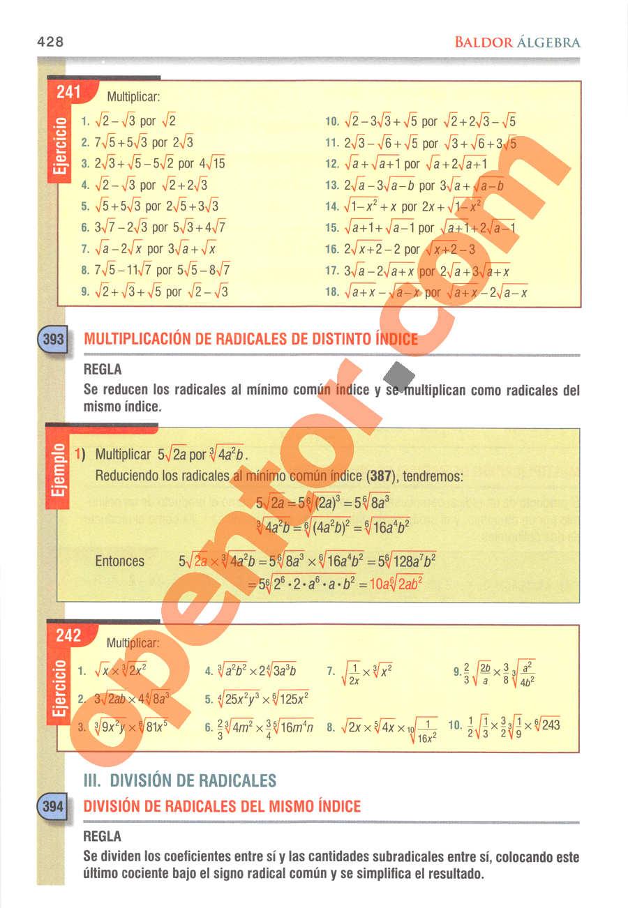 Álgebra de Baldor - Página 428