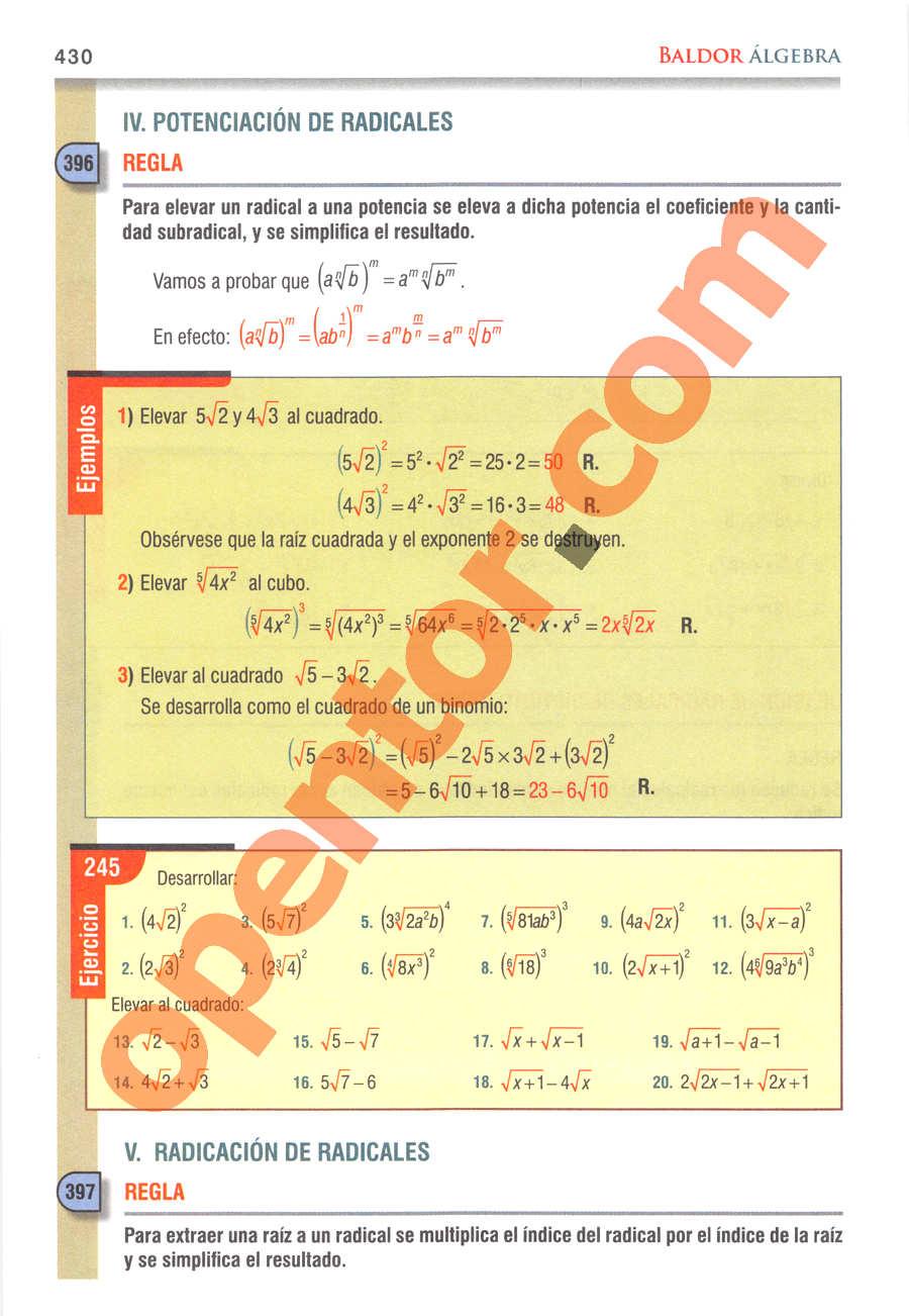Álgebra de Baldor - Página 430