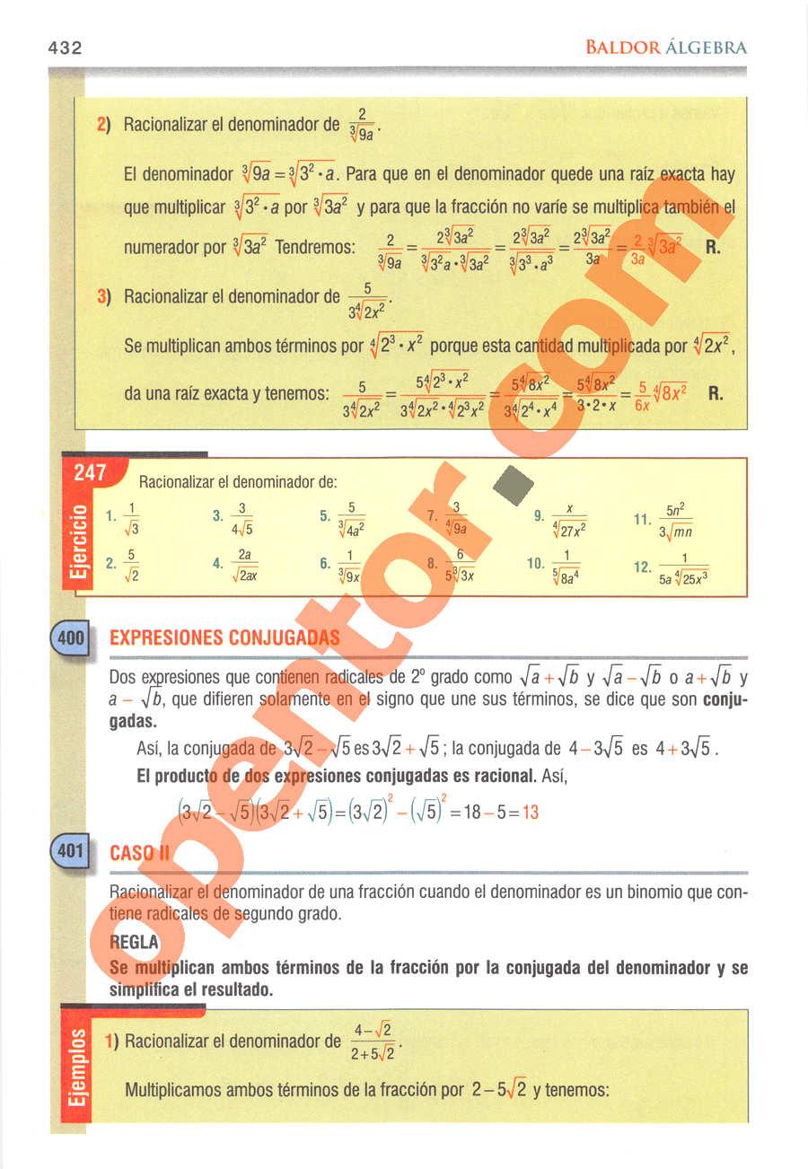 Álgebra de Baldor - Página 432