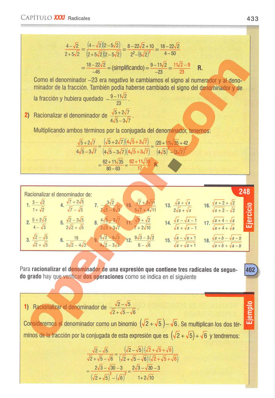 Álgebra de Baldor - Página 433