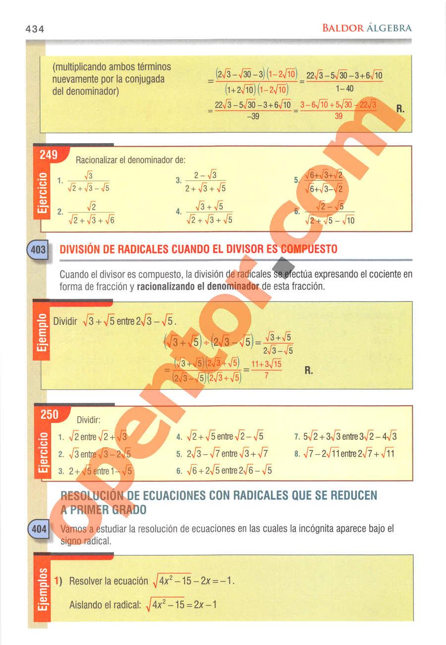Álgebra de Baldor - Página 434