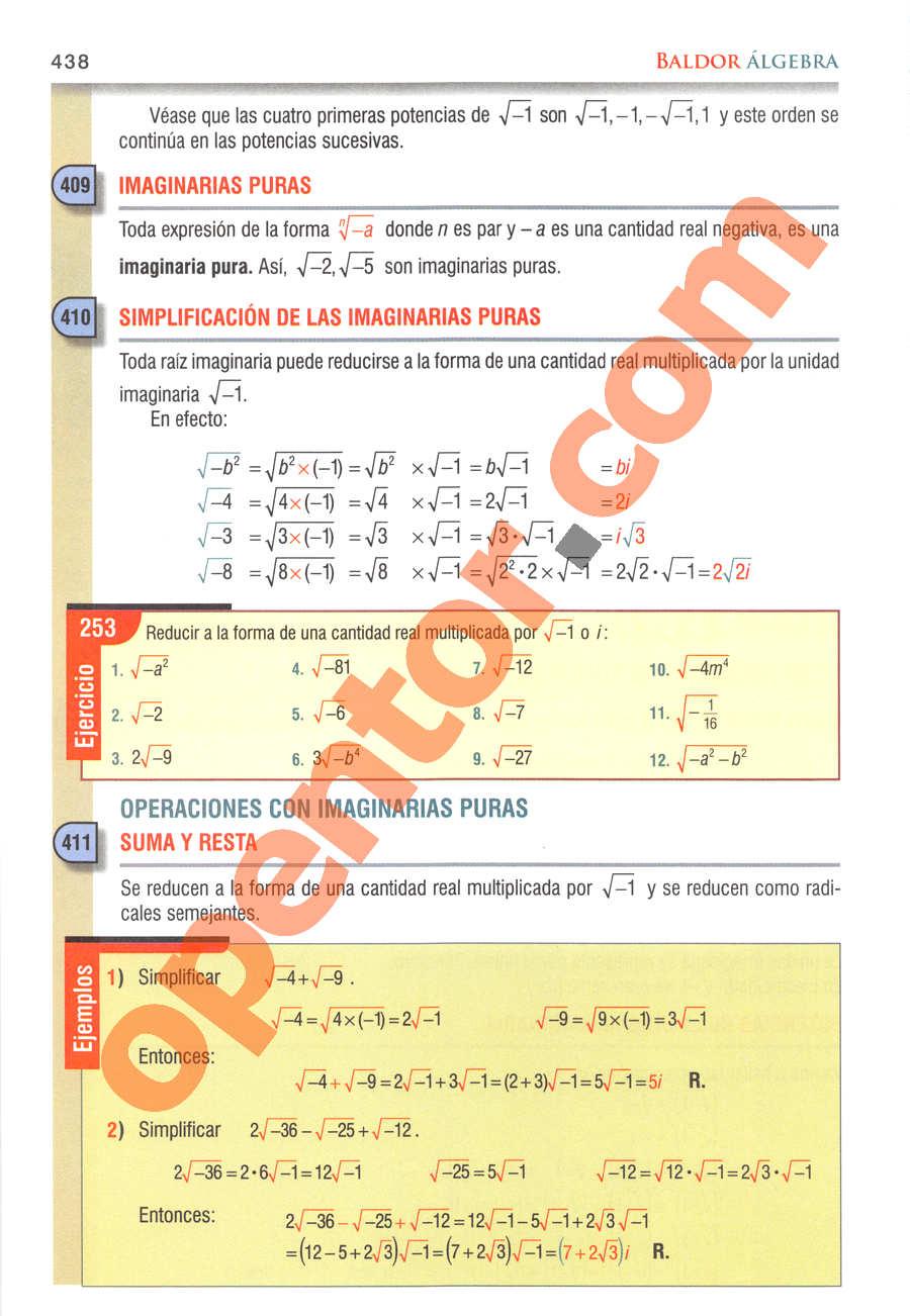Álgebra de Baldor - Página 438