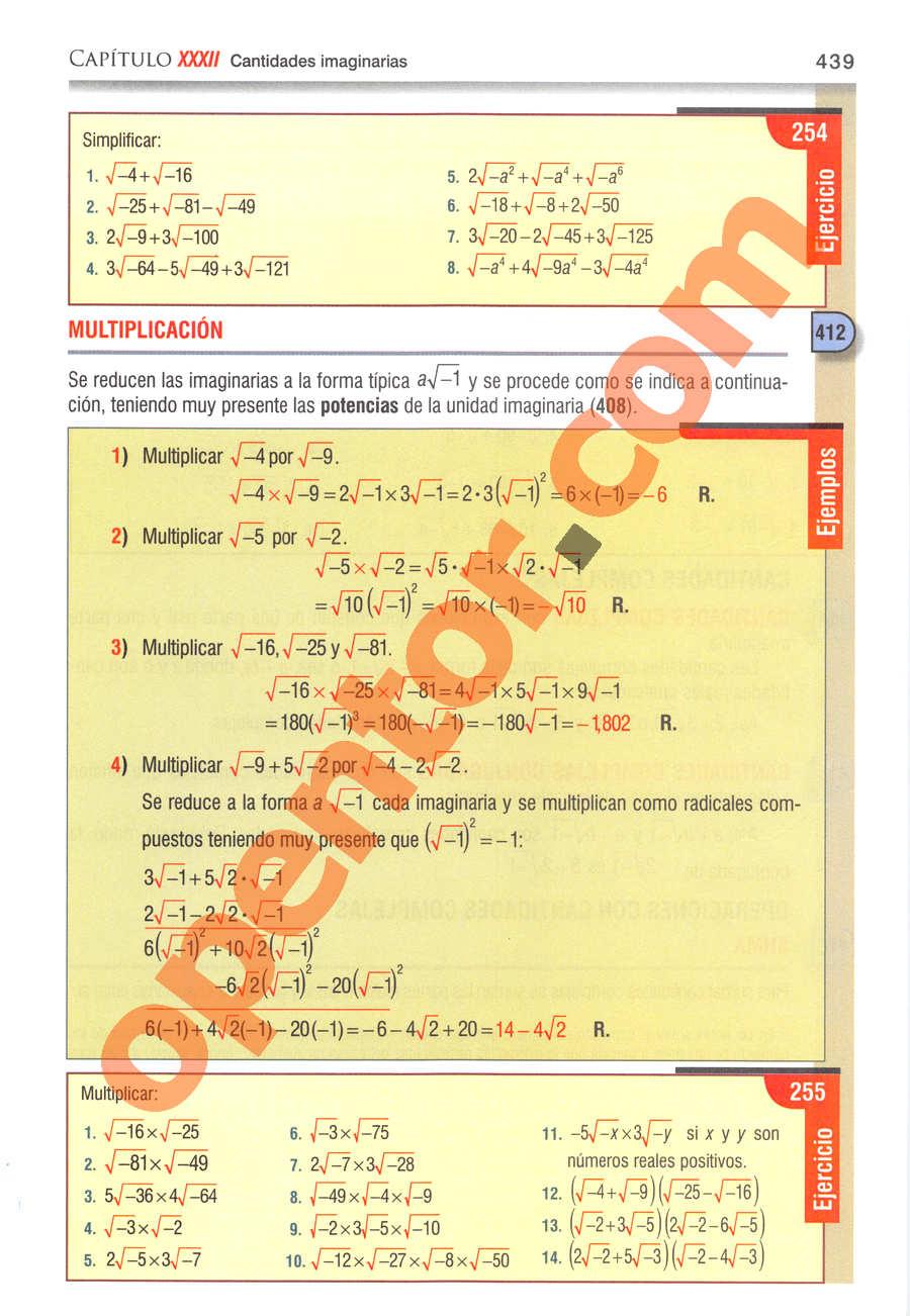 Álgebra de Baldor - Página 439