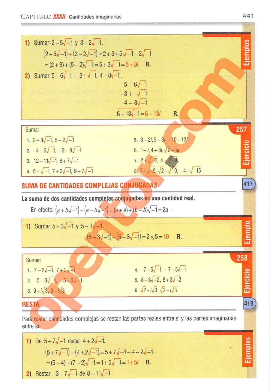 Álgebra de Baldor - Página 441