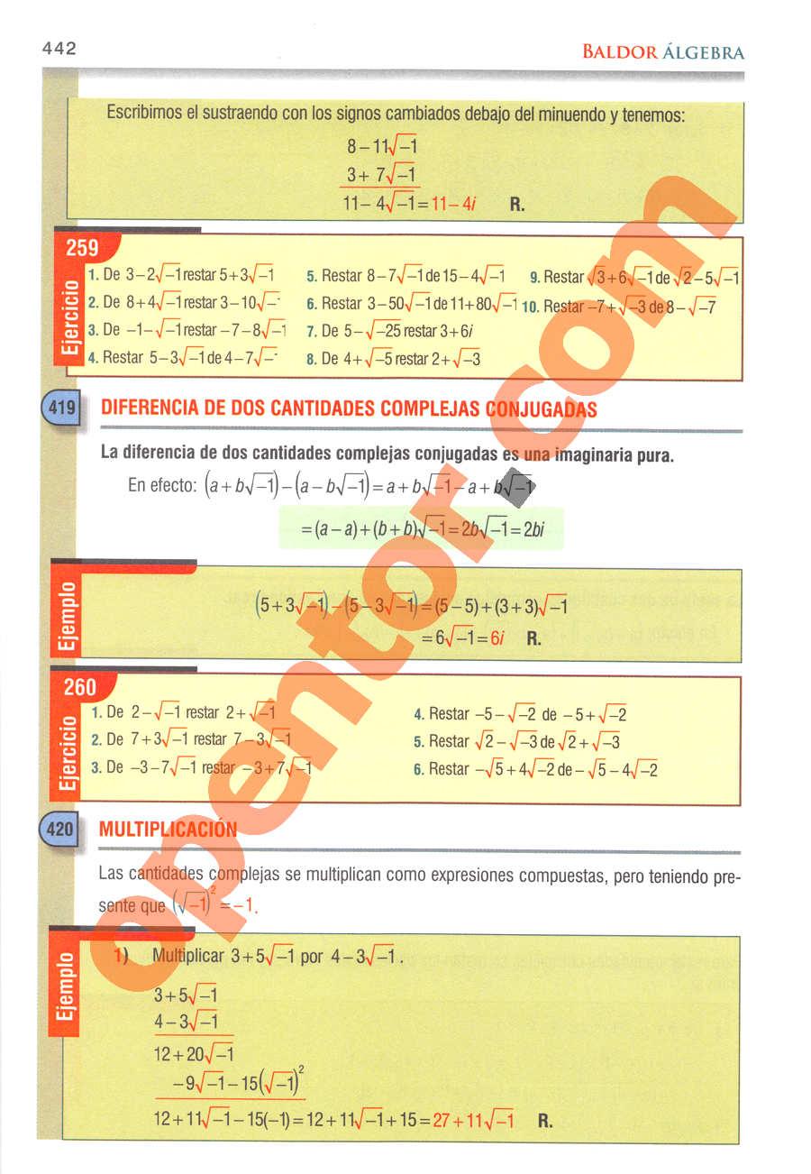 Álgebra de Baldor - Página 442