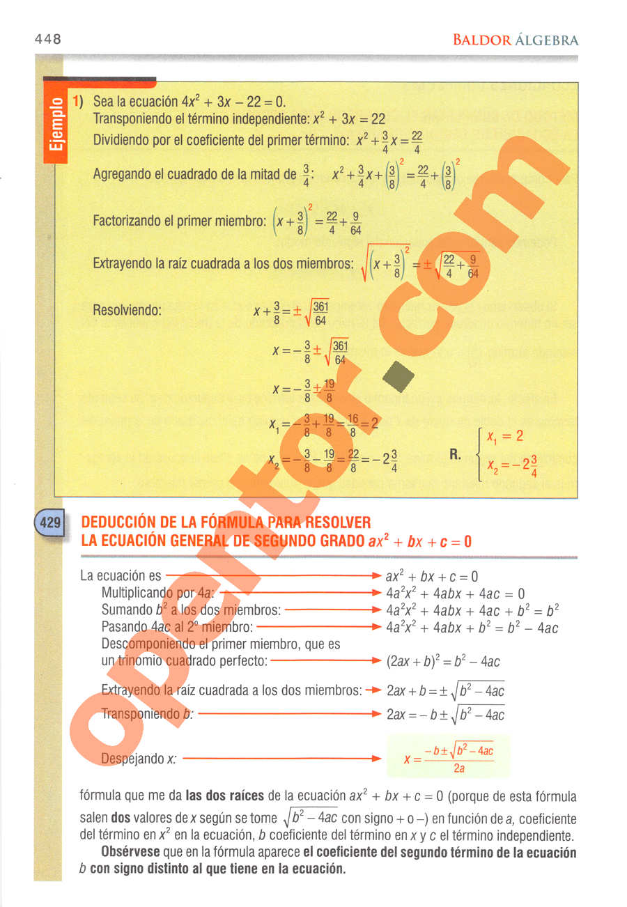 Álgebra de Baldor - Página 448