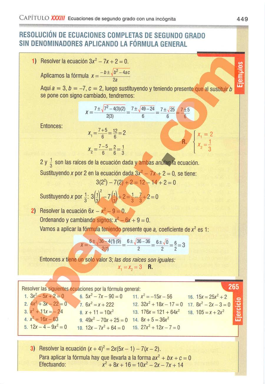Álgebra de Baldor - Página 449