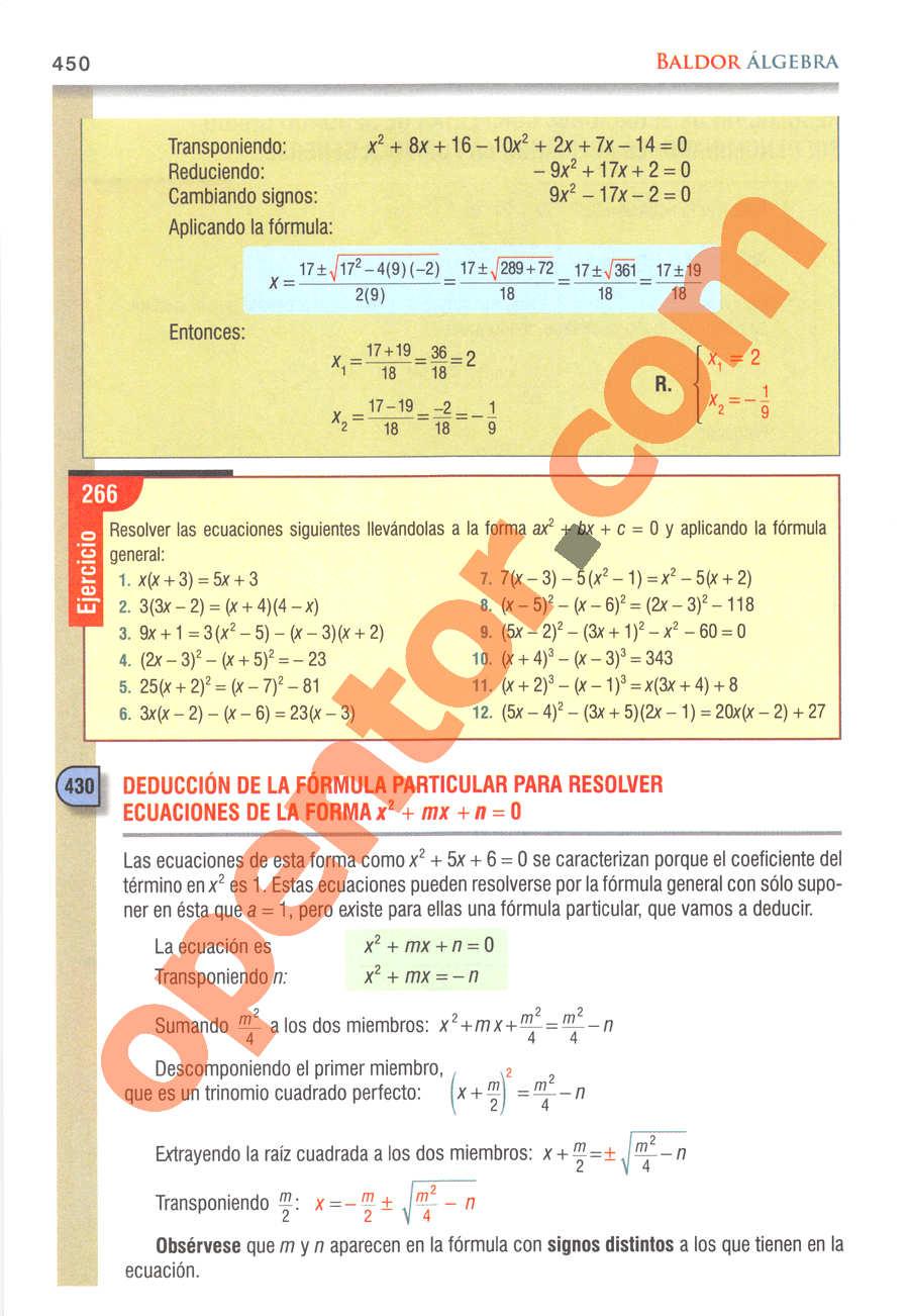 Álgebra de Baldor - Página 450