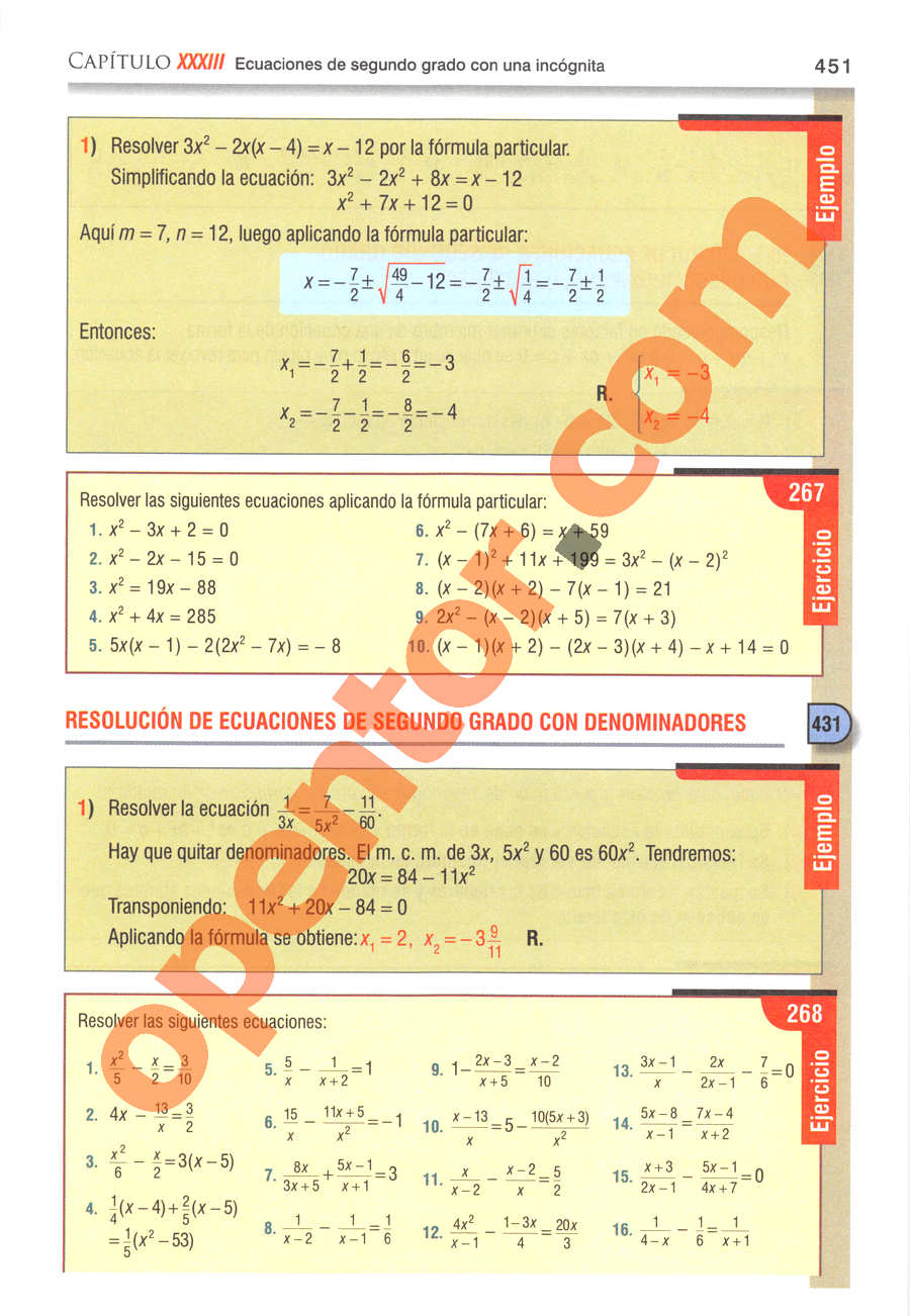 Álgebra de Baldor - Página 451