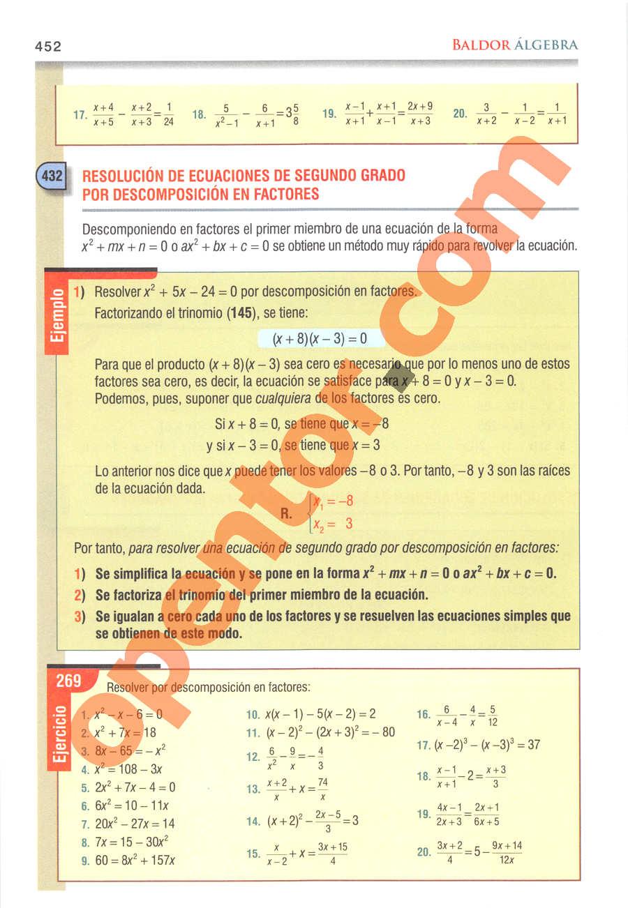 Álgebra de Baldor - Página 452