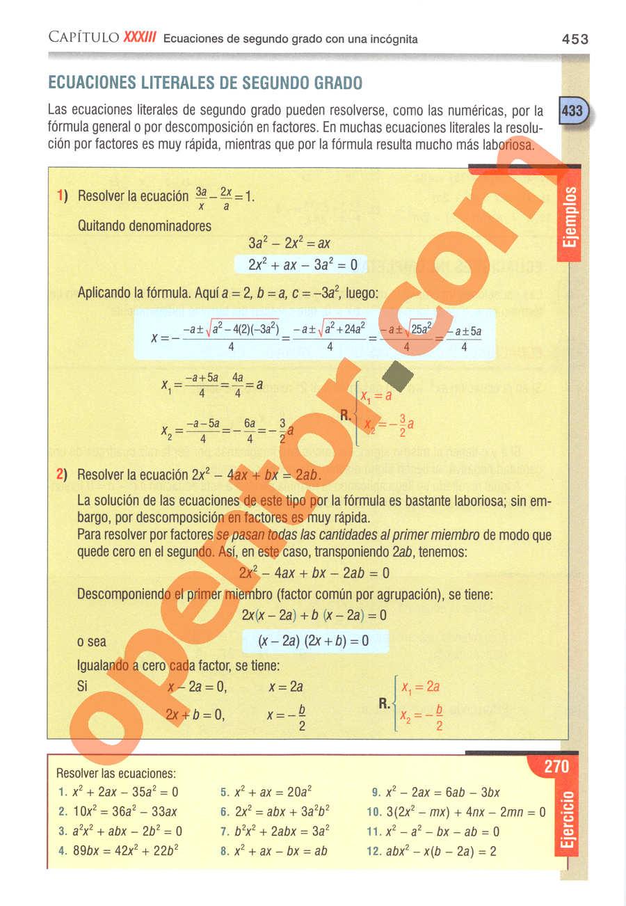 Álgebra de Baldor - Página 453