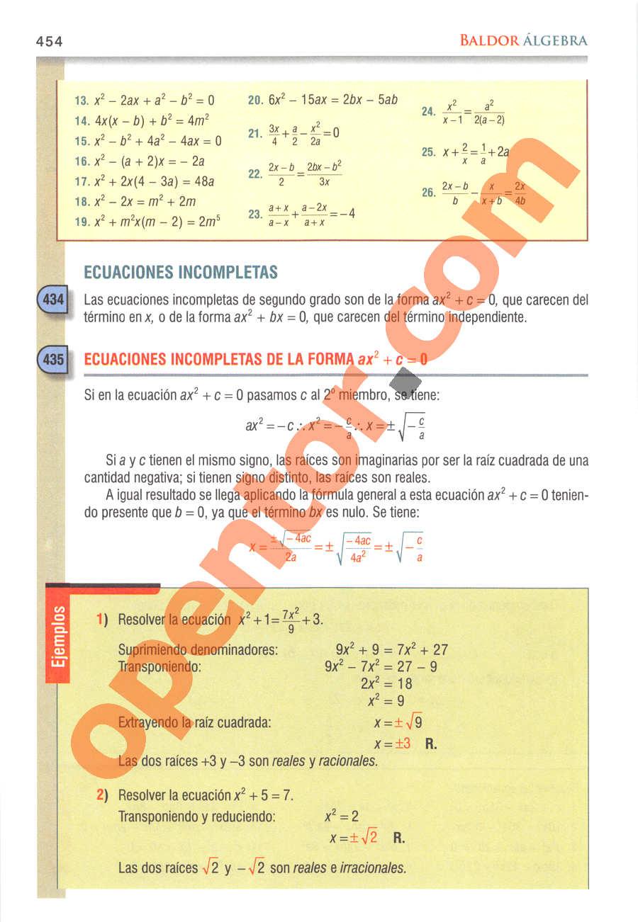 Álgebra de Baldor - Página 454