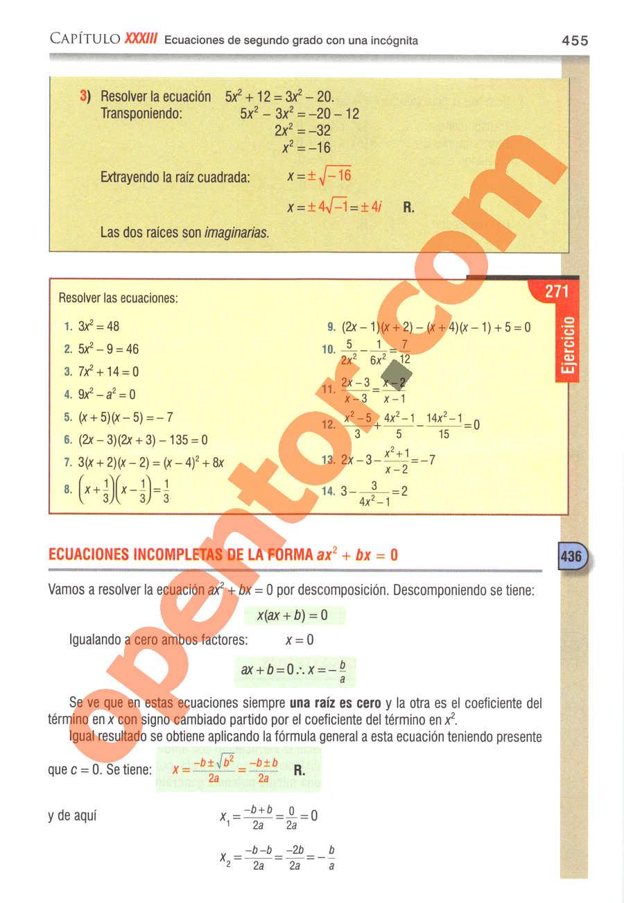 Álgebra de Baldor - Página 455