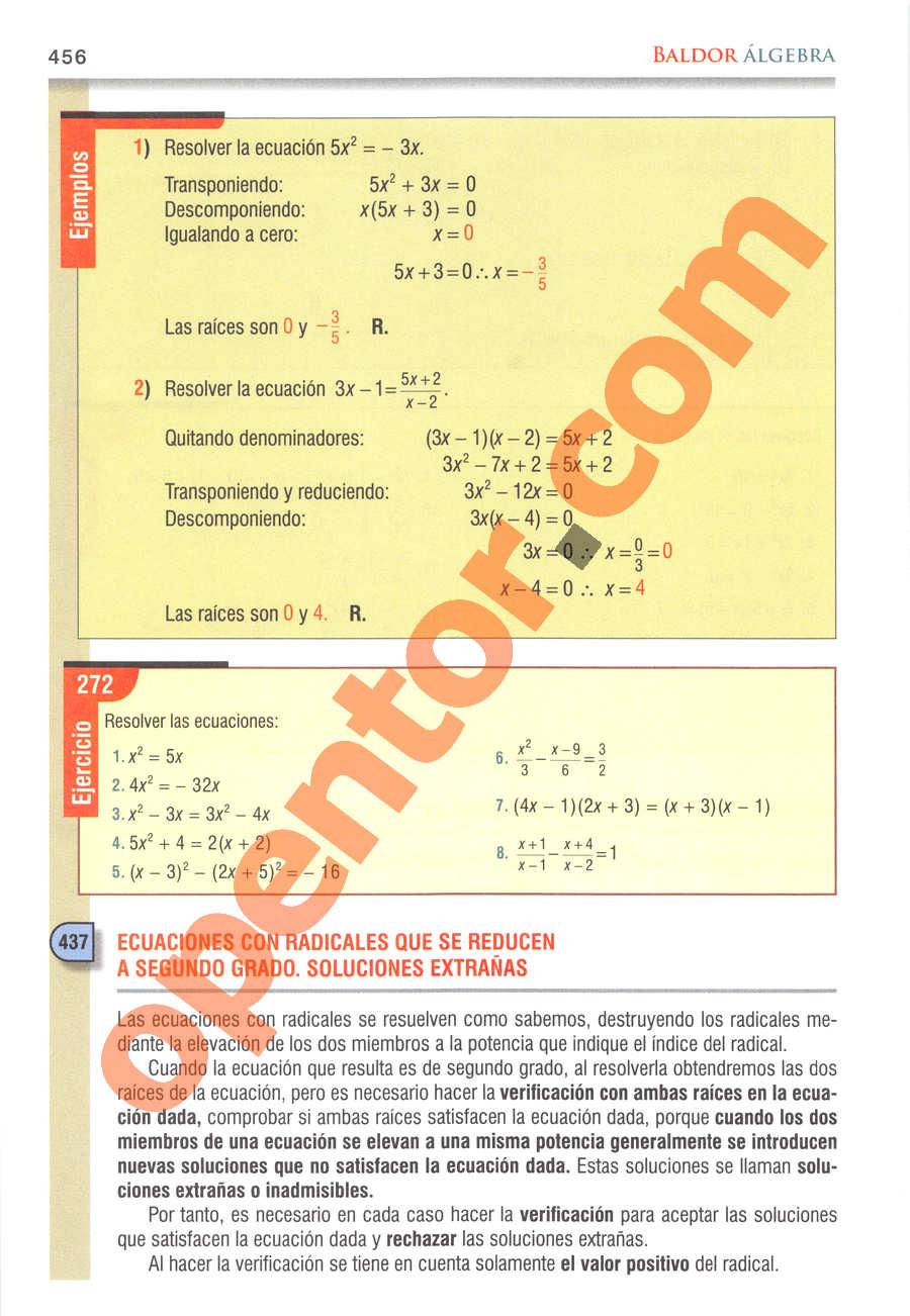 Álgebra de Baldor - Página 456