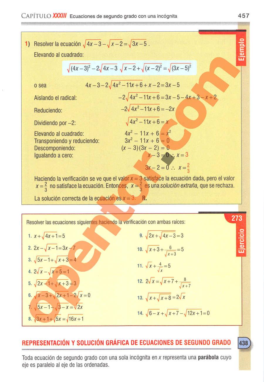 Álgebra de Baldor - Página 457