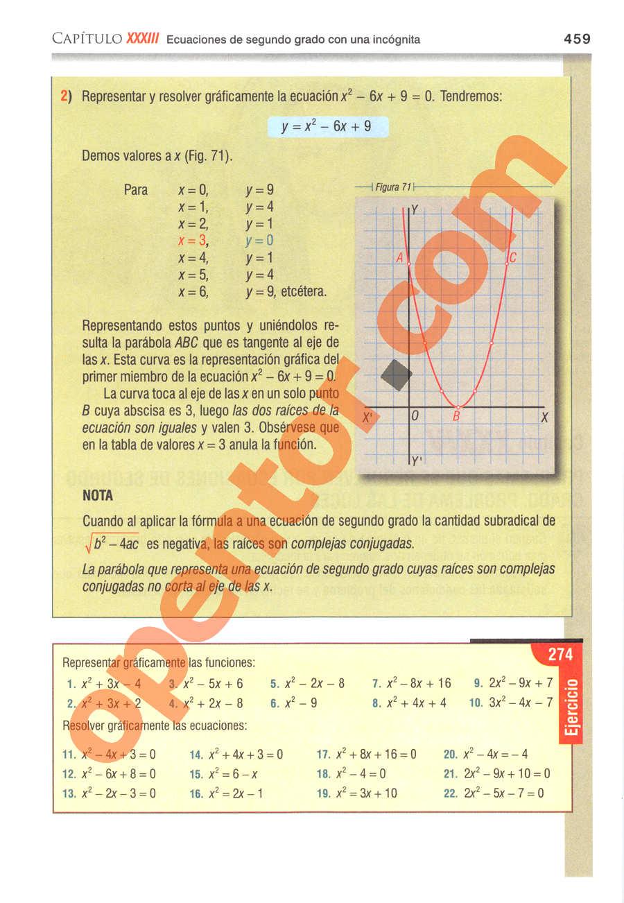 Álgebra de Baldor - Página 459