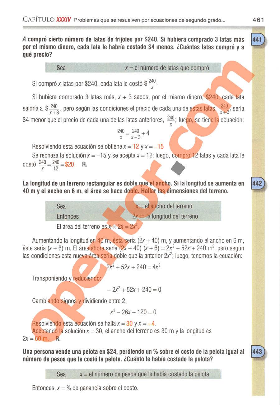 Álgebra de Baldor - Página 461