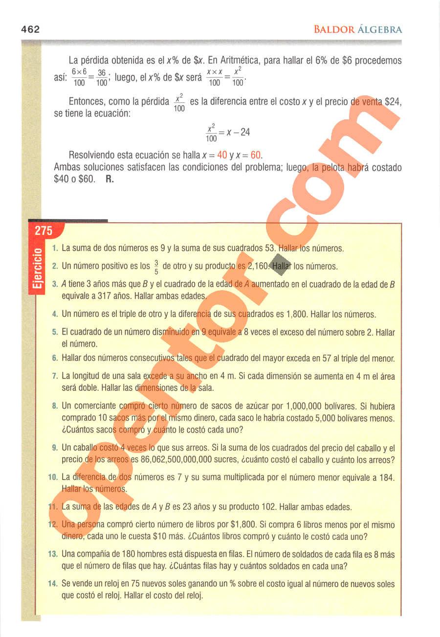 Álgebra de Baldor - Página 462