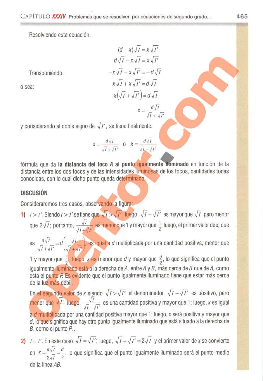 Álgebra de Baldor - Página 465